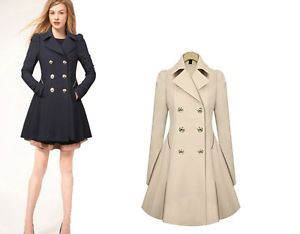 Details about formal dresses women trench coat double-breasted