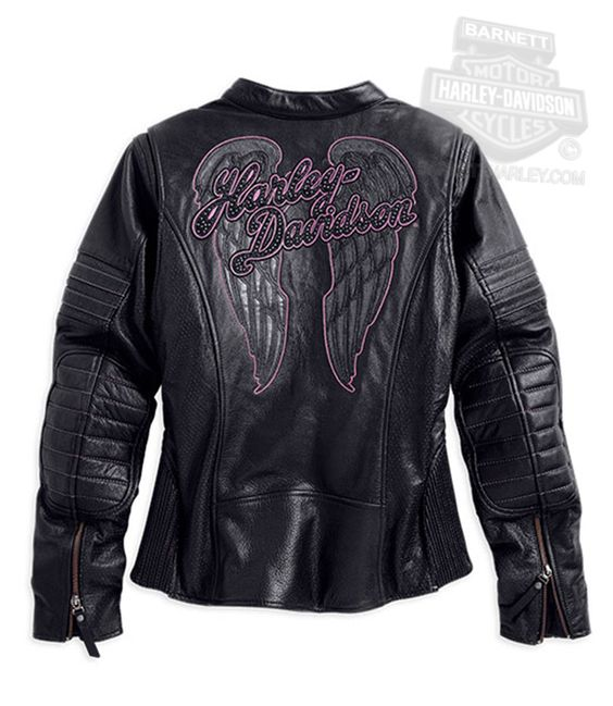 Harley-Davidson® Womens Night Angel Wings with Studded Embellishments Black Leather Jacket
