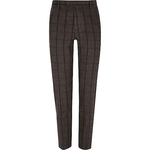 Grey checked skinny suit trousers - skinny fit - suits - men