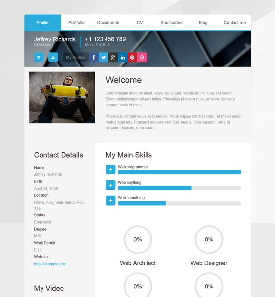 This vCard WordPress theme features Bootstrap integration, a - wordpress resume template