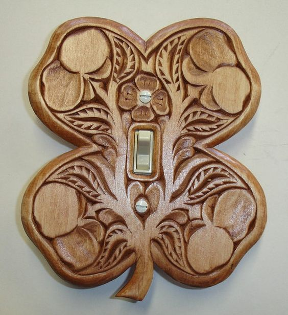 Irish four leaf clover all hand carved solid wood switch