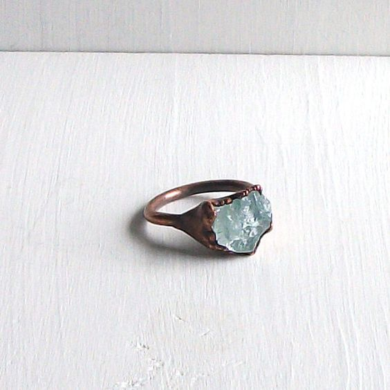 Aquamarine Ring Birthstone Ring Cocktail Ring Gemstone Ring March Stone Mineral Pale Blue For Her Artisan Handmade
