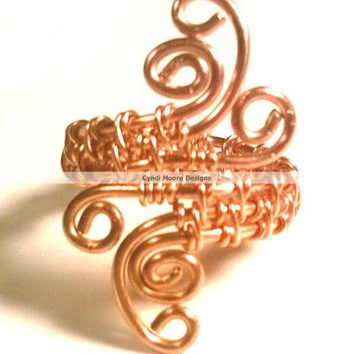 Adjustable copper wire weaved and coiled ring. - $20.00 Plus S&H