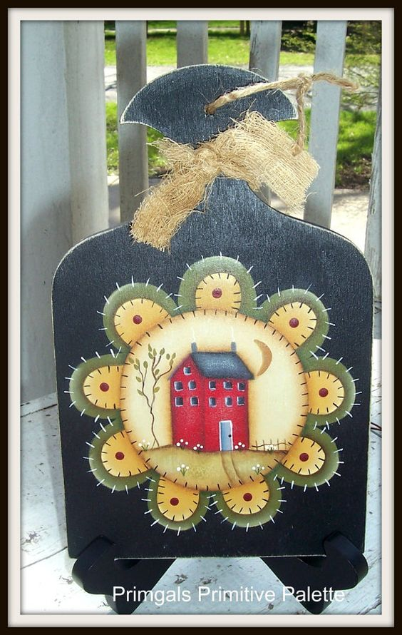 Hand Painted Primitive Plaque with penny mat and Saltbox house...LOVE!! http://www.etsy.com/listing/130883019/primitive-penny-rug-saltbox-house-wood