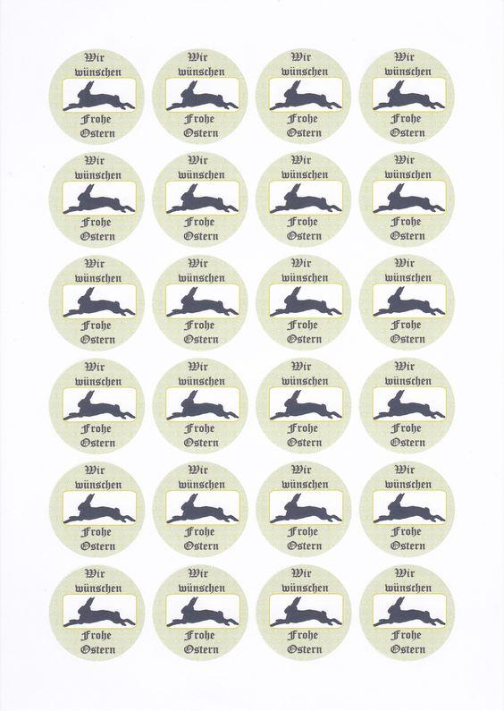 Vorlage für Sticker zu Ostern. Durchmesser 4cm, Abstände 3mm oben und seitlich. Abstände oben und links einfach an Etikettenbogen anpassen. Super auf Geschenken oder Briefumschlägen