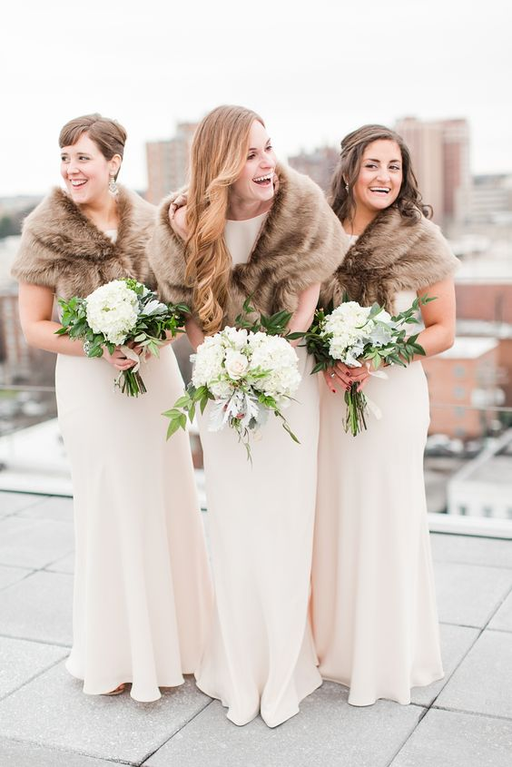 Black Tie New Year's Eve Wedding at Richmond's Quirk Hotel with Neutral Colors and Fur Shawls photographed by Katelyn James Photography
