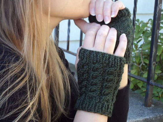 Cabled fingerless gloves wool by WendysWonders127 on Etsy, $30.00 #etsysns #handmadebot #boebot