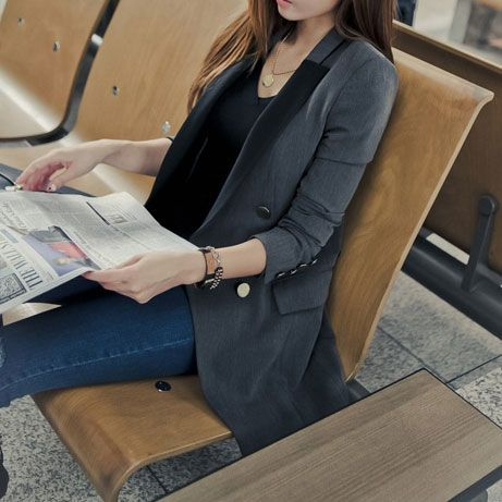 lilystyle | Leisure Gorgeous OL Pure Color Double Breast Blazer Coat | Online Store Powered by Storenvy