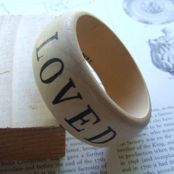 wooden bangle bracelet YOU ARE LOVED words on your by palomasnest, $28.00