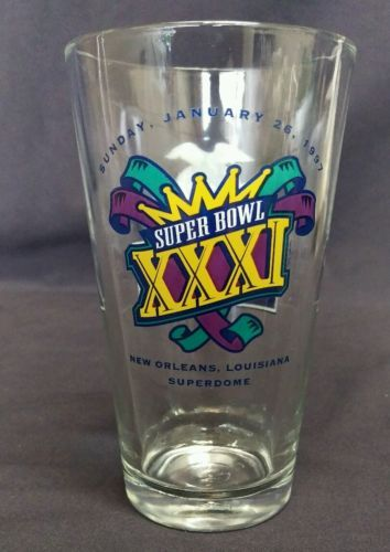 SUPER BOWL 31 New Orleans 1997 Commercial Bar Miller Beer Drinking Glass  3.8P722B48717JUNK0210,253   http://ajunkeeshoppe.blogspot.com/