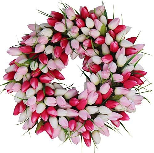 28-Inch Nearly Natural Plum Blossom Teardrop Wreath