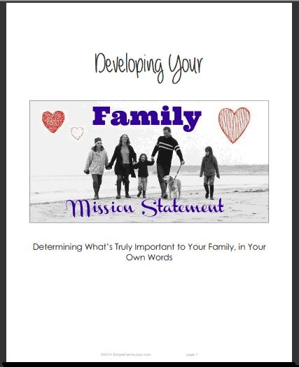 Free, printable 12-page PDF with instructions on how to brainstorm, write and pretty-up your own Family Mission Statement, including step-by-step worksheets and final copy templates...Great tool for getting family talking about what's really important to each member and getting on same page!