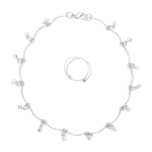 Crystal Anklet and Toe Ring Set | Claire's $9.00
