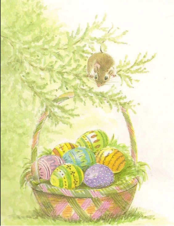 """Mousekin's Easter Basket"" by Edna Miller, Simon and Schuster, 1986  (https://www.etsy.com/listing/115674502/mousekins-easter-books?ref=v1_other_2)"
