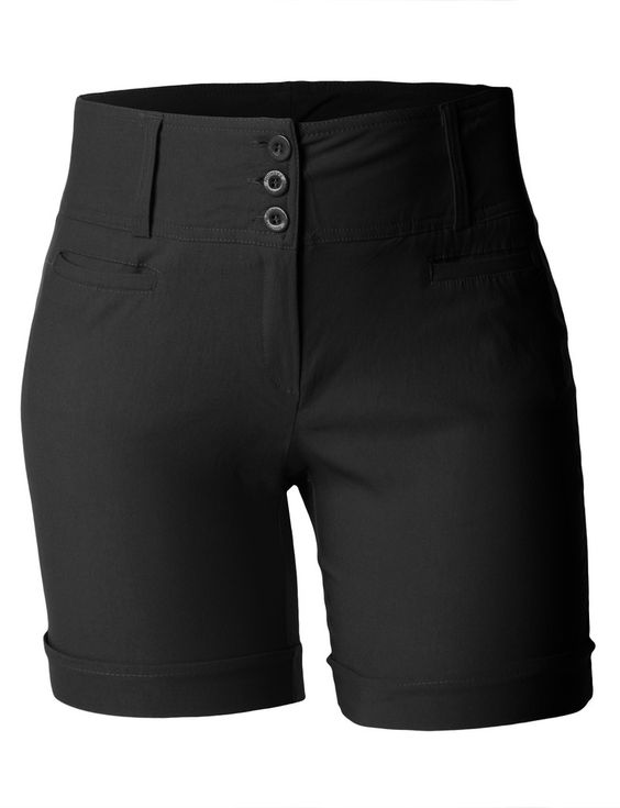 LE3NO Womens Plus Size High Waisted Bermuda Shorts with Stretch ...