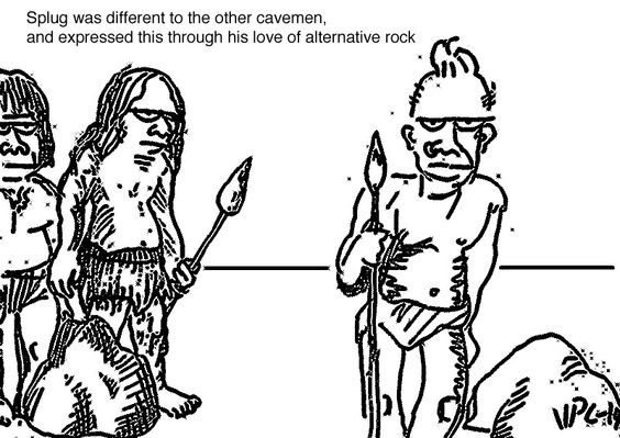 two cavemen stand by a rock, another apart from them by another rock