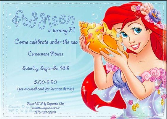 Customized Ariel Birthday Party Invites 1200