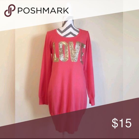 Love Applique Sweater Dress love this dress! unfortunately i don't like the way my tummy looks in this. :/ re-posh...it's in absolutely perfect condition. gold sequin applique on a beautiful, soft coral colored sweater dress :) Say What? Dresses Long Sleeve