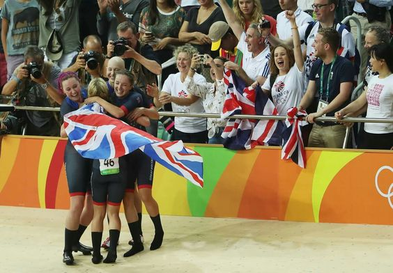 RIO DE JANEIRO, BRAZIL - AUGUST 13: Katie Archibald, Laura Trott, Elinor Barker, Joanna Rowsell-Shand of Great Britain celebrate winning the gold medal after the Women's Team Pursuit Final for the Gold medal on Day 8 of the Rio 2016 Olympic Games at the Rio Olympic Velodrome on August 13, 2016 in Rio de Janeiro, Brazil. (Photo by Christian Petersen/Getty Images)
