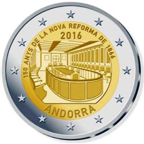 Moneda Conmemorativa 2 Euros Andorra 2016 Reforma 1866 Bu Monedas Monedas De Euro Billetes De Euro