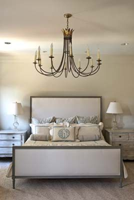 Pretty bedroom with Julie Neill chandelier. This chandelier would look great in my bedroom!