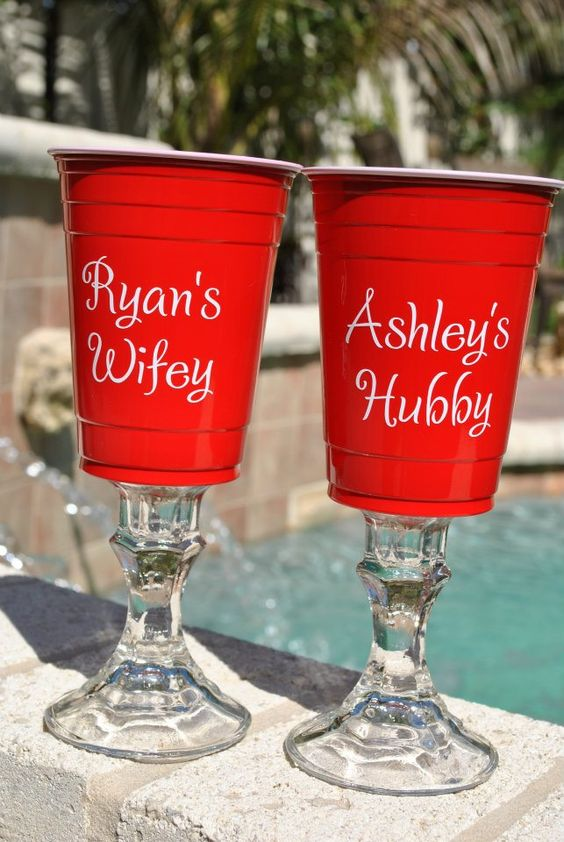 Red Solo cup wine glasses $16 - OMG it would be so easy to just make these with dollar store candle holders or even from Christmas Tree shop or Hobby Lobby for just a buck or two!!!