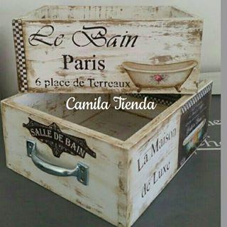 Divinos Cajones Realizados Por Susi Con Láminas Camila Para Decoupage Pintados Con Ohmychalk Color Marf Repurposed Wooden Box Wine Crate Wooden Crates