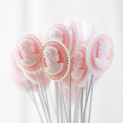 pink cameo lollipops
