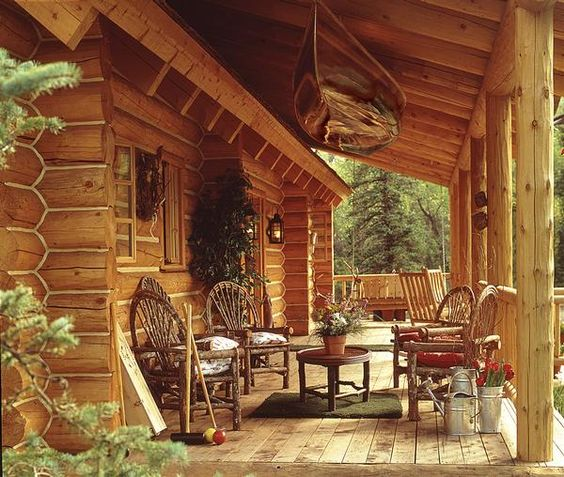 Pinterest the world s catalog of ideas for Log cabin porch