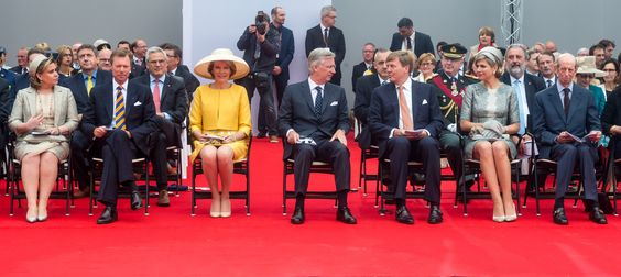 King Philippe and Queen Mathilde of Belgium attended the official commemoration ceremony of the bicentenary of the Battle of Waterloo at the Lion's Mound in Braine-l'Alleud near Waterloo, Belgium on June 18, 2015.