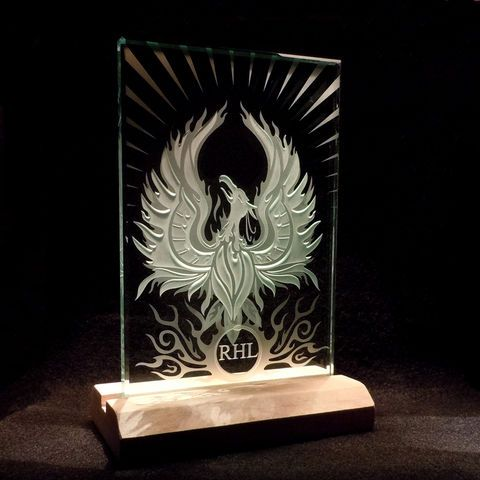 Rising Phoenix Mythological Fire Bird - Etched Art Glass Paperweight Decorative Display with Base
