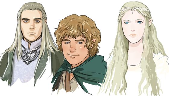 "Celeborn, Sam, and Galadriel from ""Lord of the Rings"" - Art by dakkun39.tumblr.com"