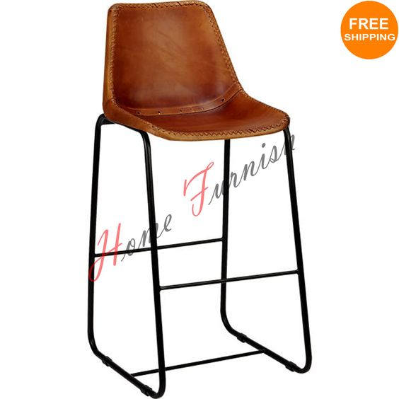 Vintage Look Industrial Bar Chair Genuine Leather Chairs Restaurant Furniture Price $199  Including Shipping, We Ship worldwide.