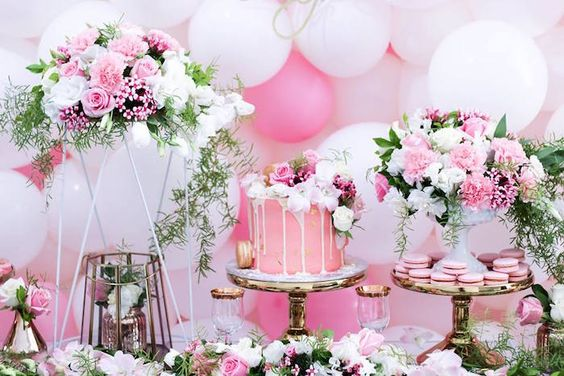 Sweet Table Details from a Pink + White & Gold Garden Party via Kara's Party Ideas | KarasPartyIdeas.com (2)