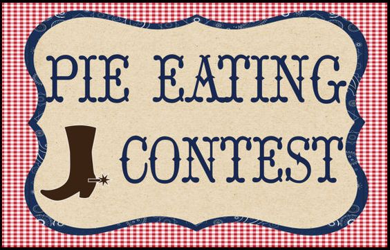 Pie eating contest sign for a hoe down or western party ...