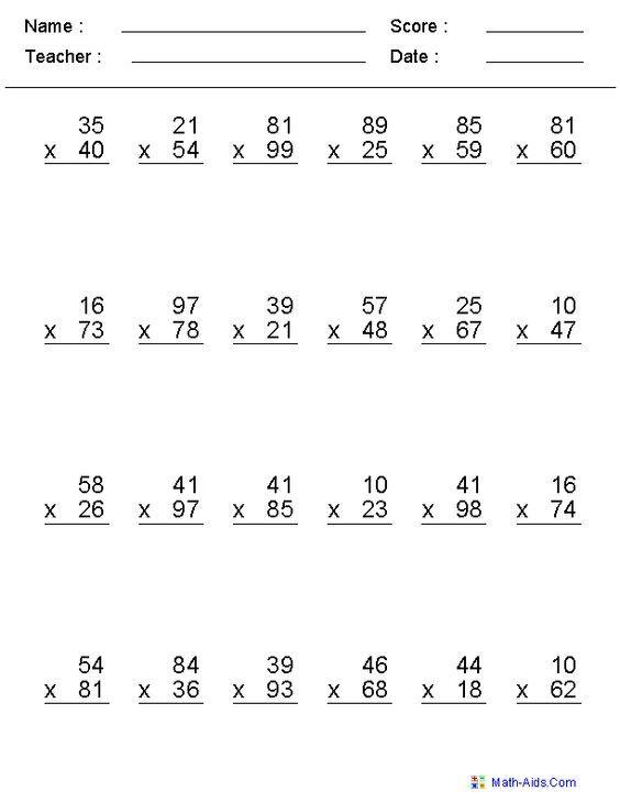 Multiple Digit Multiplication Worksheets: | Tutoring Math ...