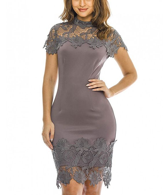 Loving this AX Paris Pewter Lace Short-Sleeve Bodycon Dress on #zulily! #zulilyfinds