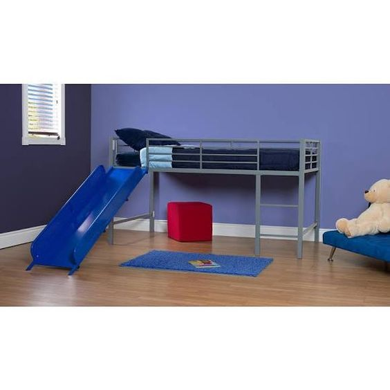 Dorel Home Products 5513198 Junior Loft with Slide - Silver with Blue