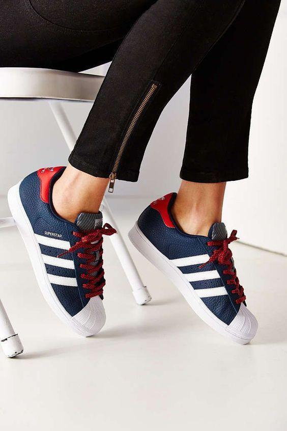 adidas superstar femme bleu rouge
