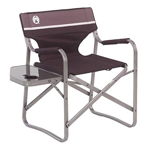 Coleman Portable Deck Chair With Side Table Is A Very Reliable And Lightweight Folding Camping Cha Folding Camping Chairs Camping Chairs Coleman Camping Chairs