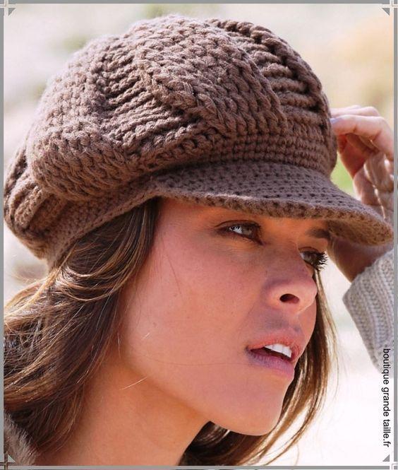 Casquette en laine femme tricotée grosse maille.
