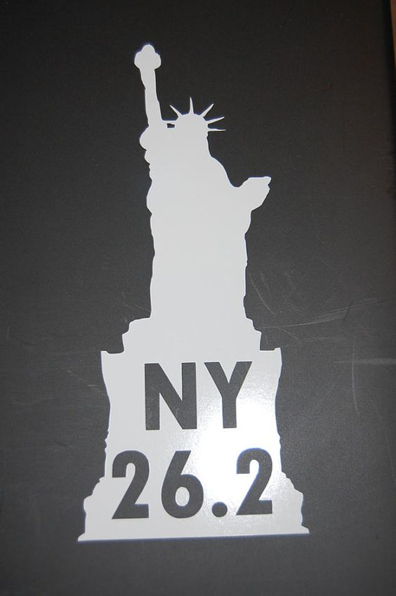 New York Marathon / NY 26.2 vinyl decal available in white, black, flat black, & pink.  Free shipping!