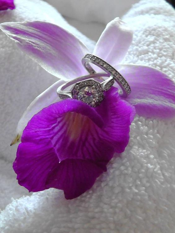 The Victorian Halo Diamond Ring snapped on a couple's honeymoon!