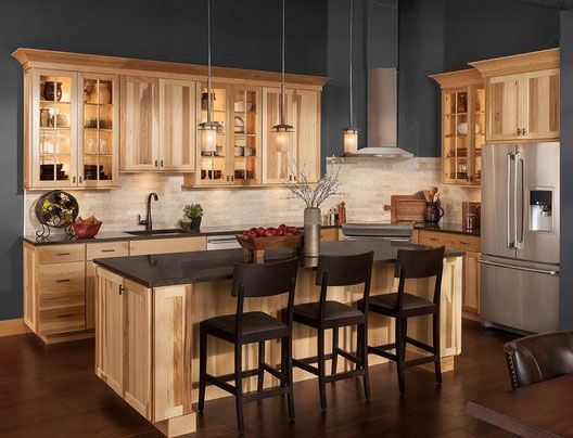 Carolina Hickory Kitchen Cabinets in 2019 | Hickory kitchen ...