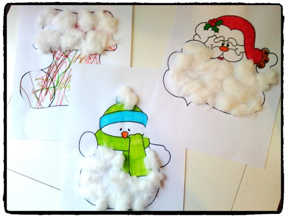 activit s de noel bricolage en coton activit s pour les petits pere noel bonhomme de neige. Black Bedroom Furniture Sets. Home Design Ideas