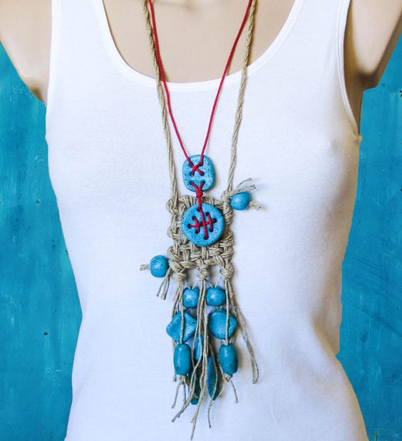 Turquoise Red Ethno tribal Necklace Bohemian от totalhandmadeD