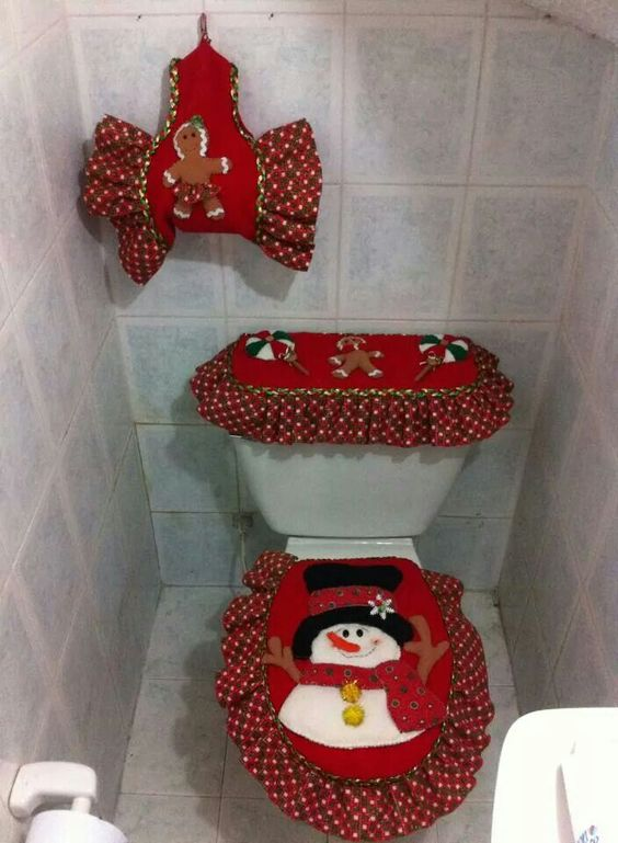 Set De Baño Navideno:Decoracion De Navidad Para El Bano