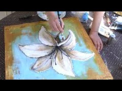 Acryldarstellung Der Abstrakten Malerei Blumen Acrylmalerei
