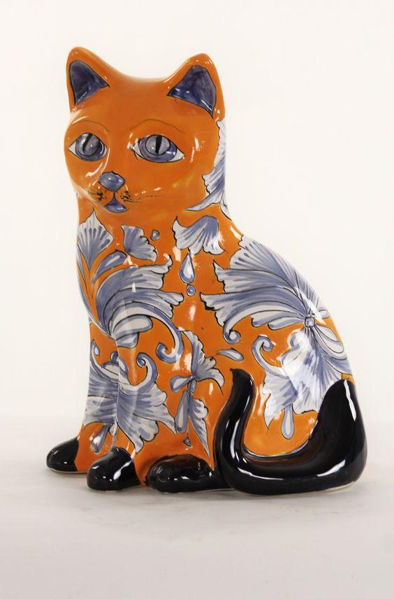 "Талавера Cat Европейский Желтый Большой H14"" x W8"" Hand made product Colors may vary $ 24.95"