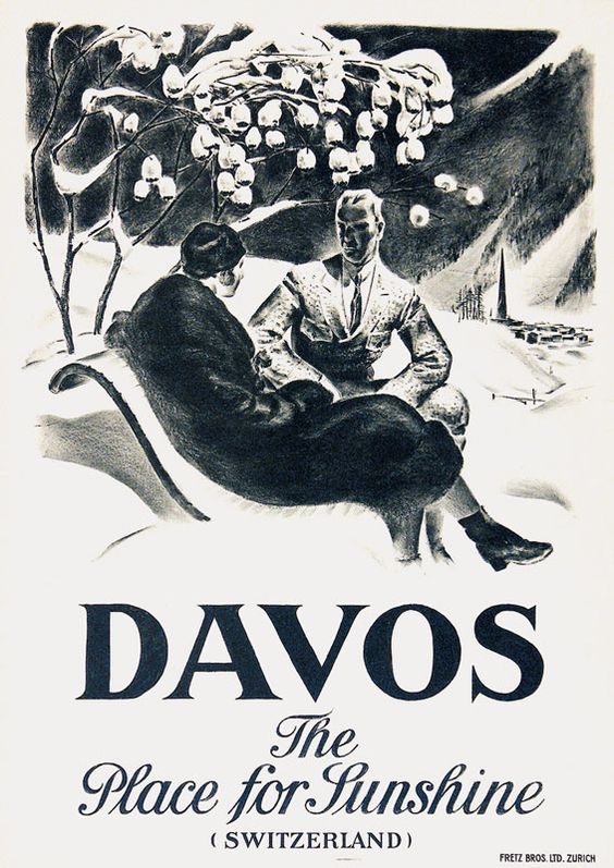 Vintage Travel Poster - Davos - Switzerland - by Moos Carl -1926.